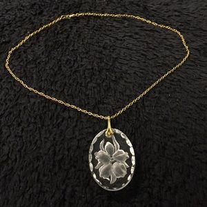 💎💎Floral Intaglio Glass Oval Pendant 💎❄️